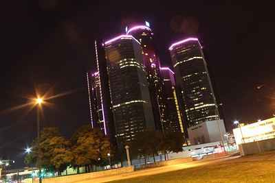 The Ren -Cen in October during Breast cancer awareness month